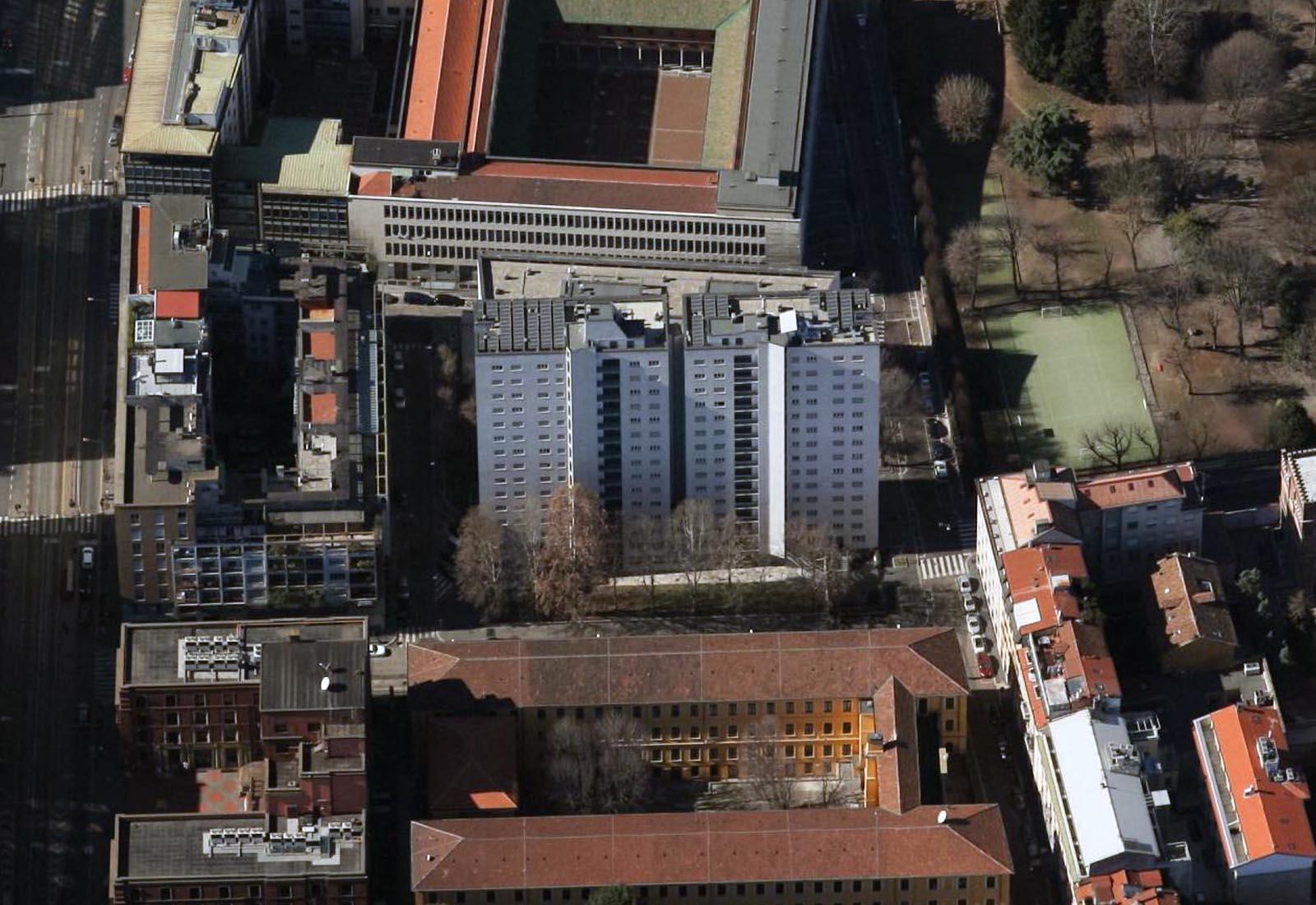 Residenza universitaria di via Corridoni - Vista aerea delle torri A e B