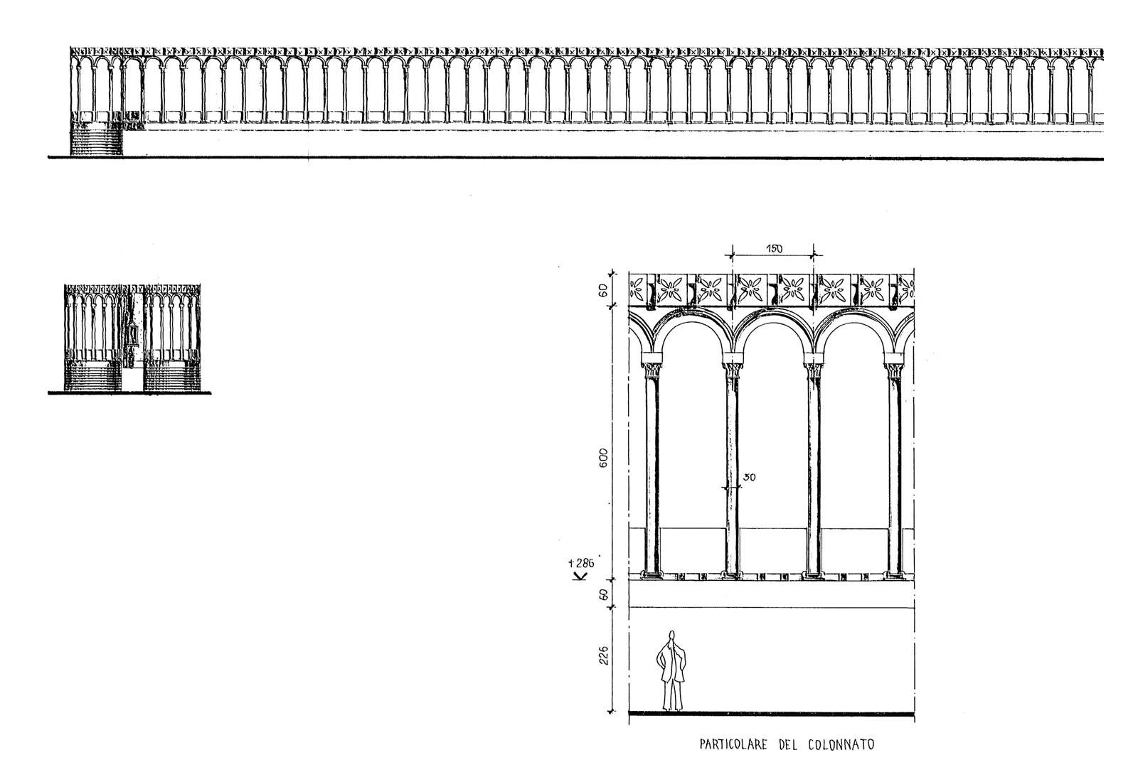 Concorso piazza dei miracoli a Pisa - Particolare del colonnato