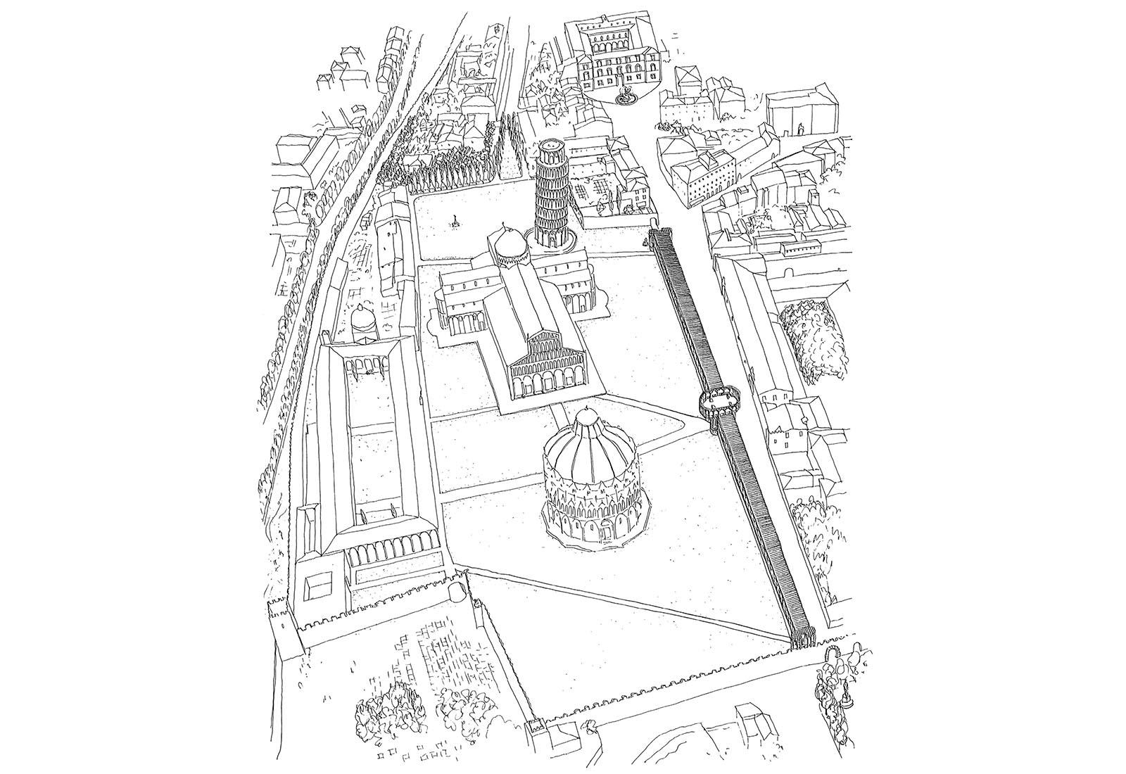 Concorso piazza dei miracoli a Pisa - Vista d'assieme