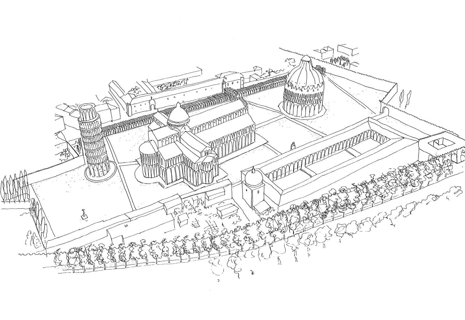 Concorso piazza dei miracoli a Pisa - Vista prospettica