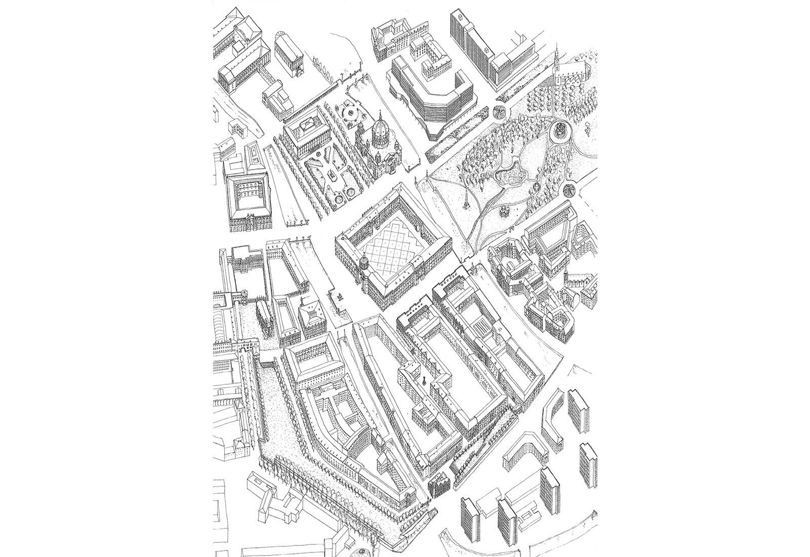Concorso Spreeinsel Berlino - Vista 3D generale