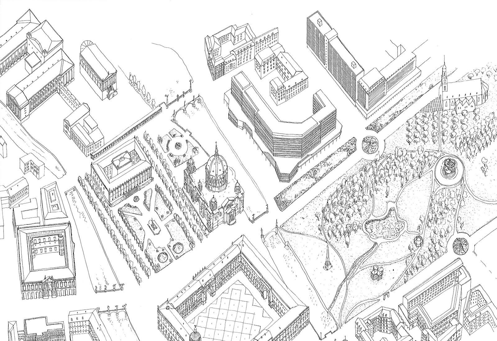 Concorso Spreeinsel Berlino - Vista 3D generale 1 di 3