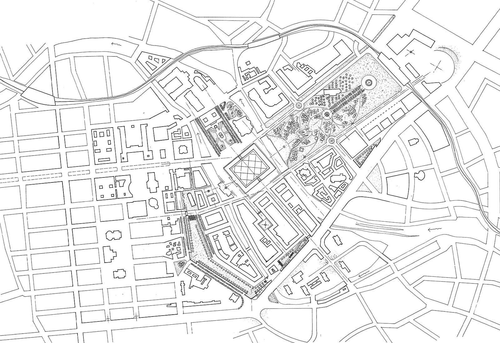 Concorso Spreeinsel Berlino - Vista planimetrica generale