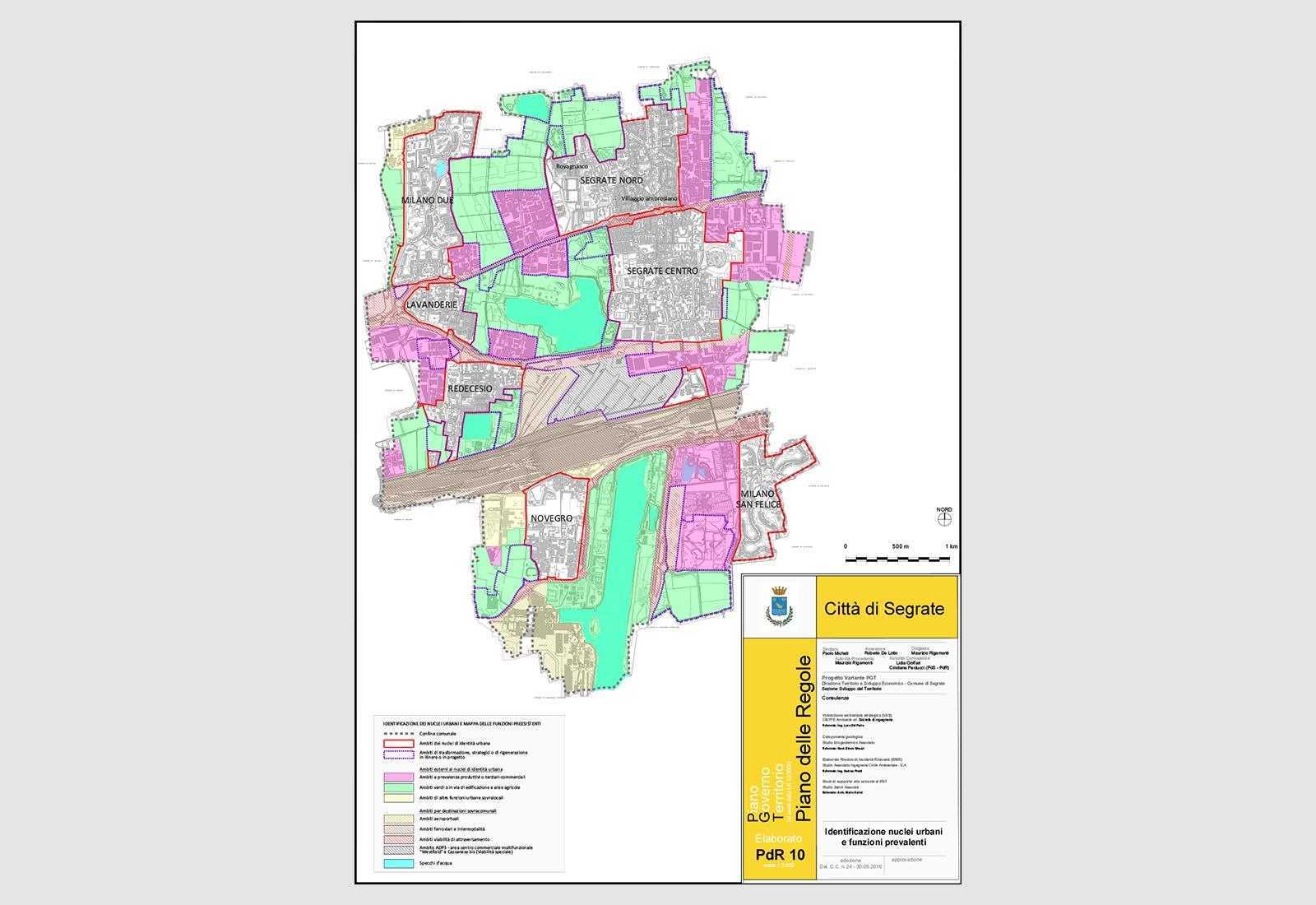 PGT Segrate - Identificazione dei nuclei urbani e mappa delle funzioni prevalenti