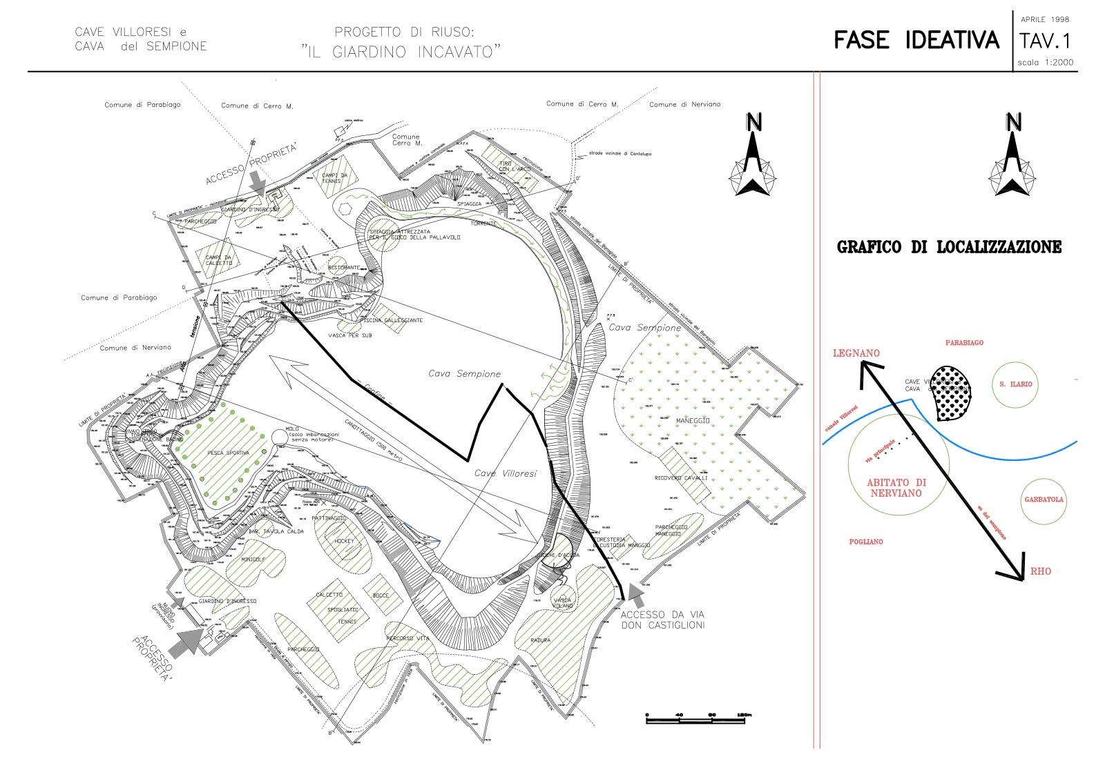 Riuso cave Villoresi e Sempione - Progetto di riuso: Tav.1 Fase ideativa
