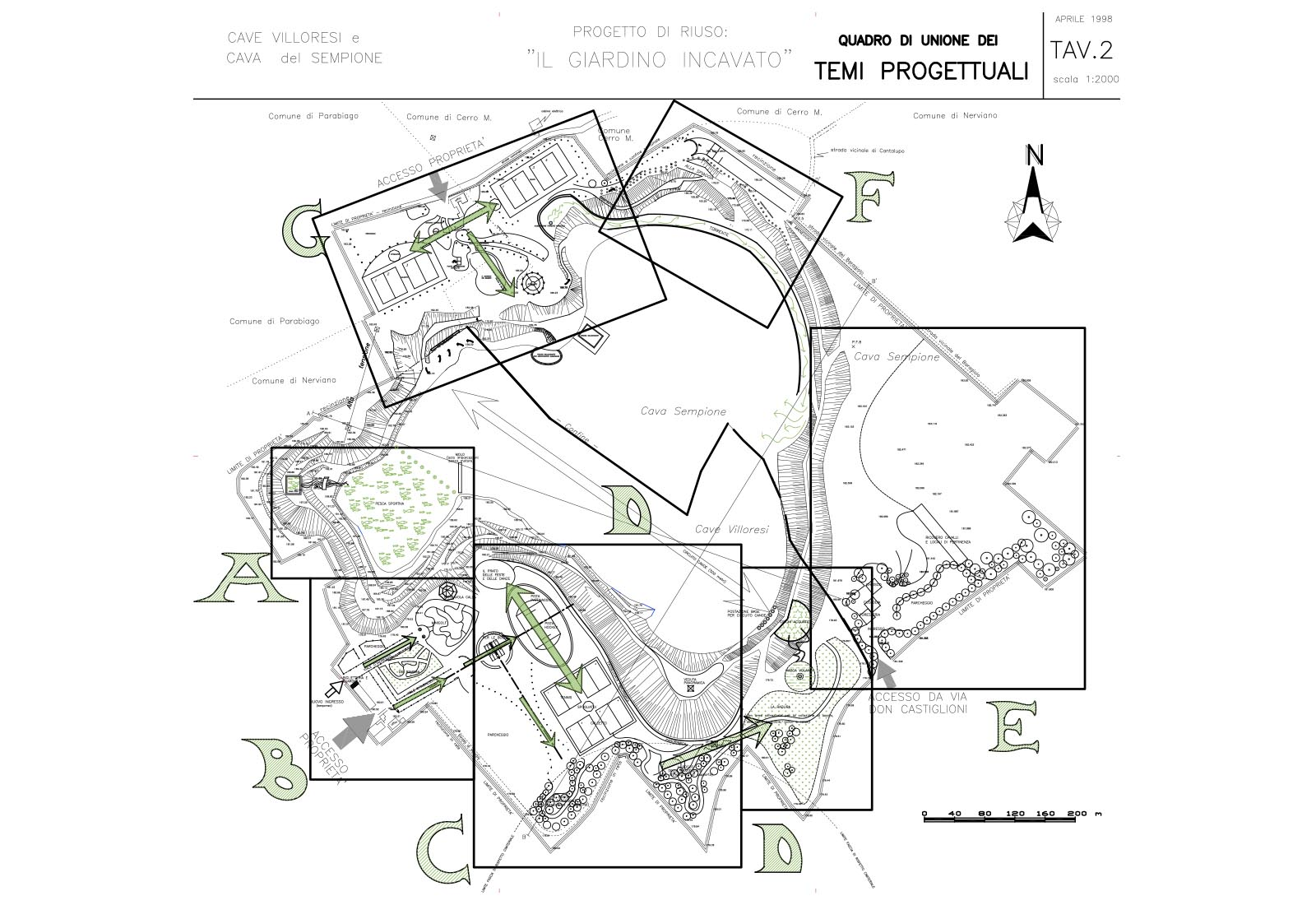 Riuso cave Villoresi e Sempione - Progetto di riuso: Tav.2 Quadro di unione dei temi progettuali