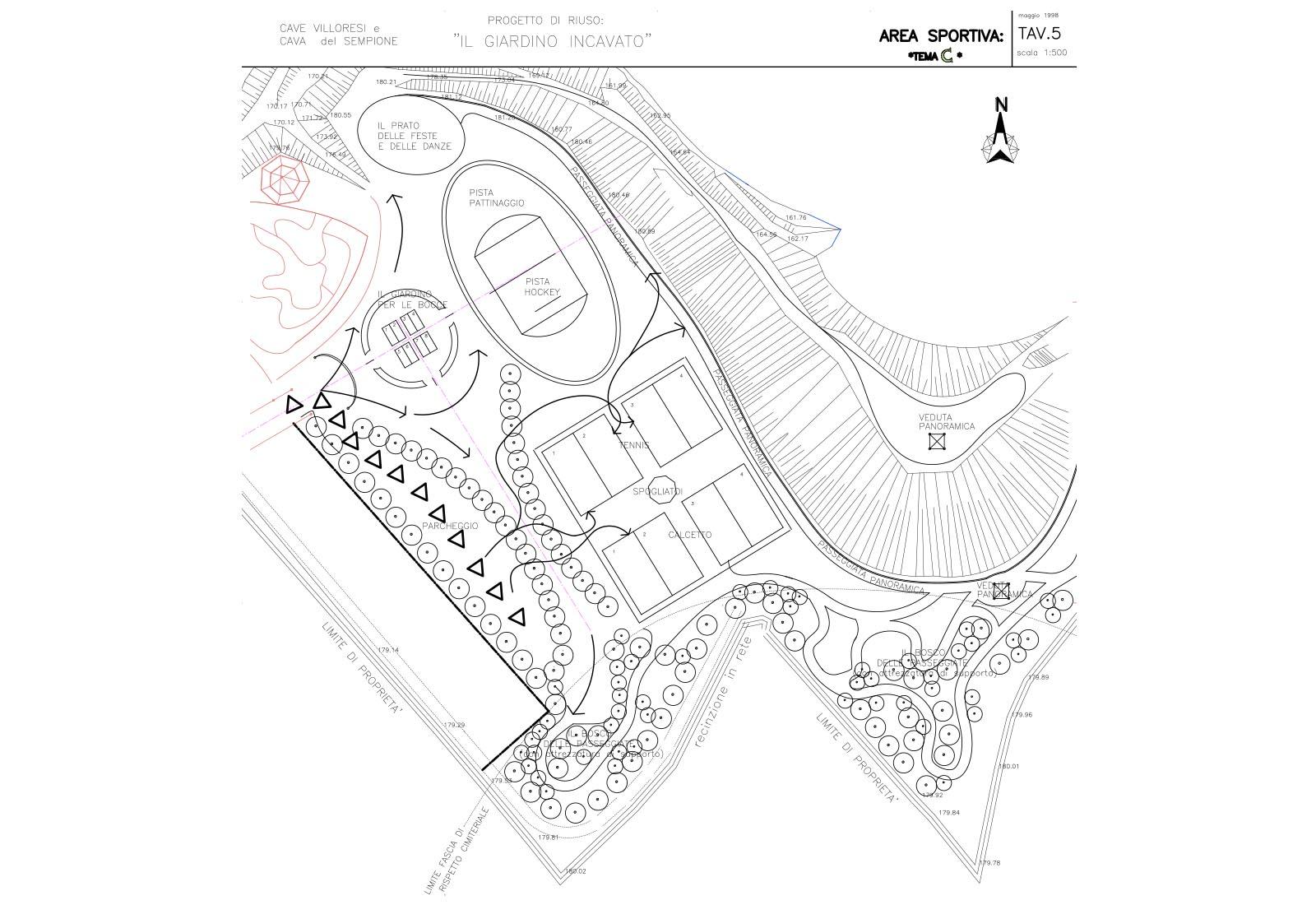 Riuso cave Villoresi e Sempione - Progetto di riuso: Tav.5 Area sportiva