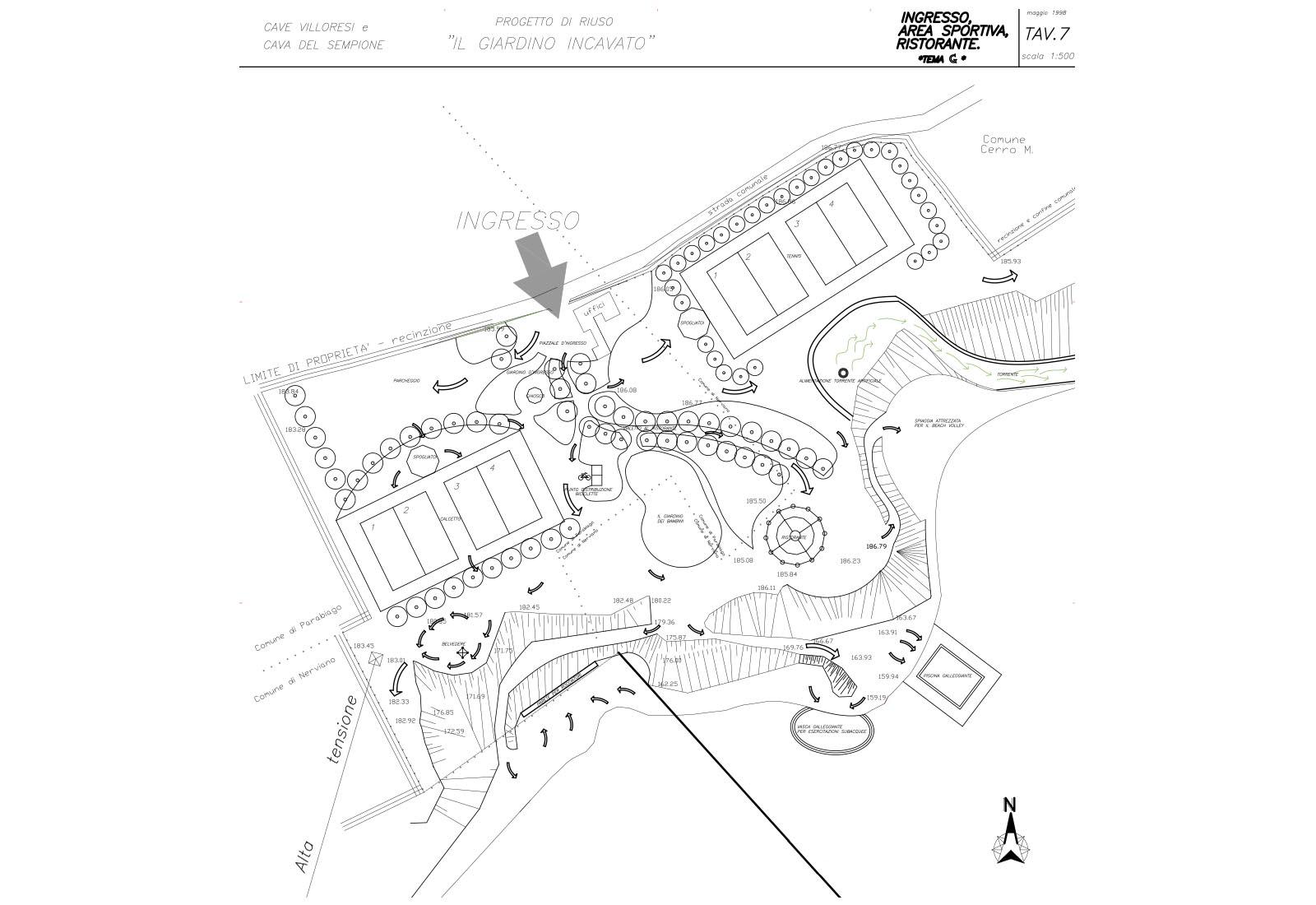 Riuso cave Villoresi e Sempione - Progetto di riuso: Tav.7 Area sportiva ristorante