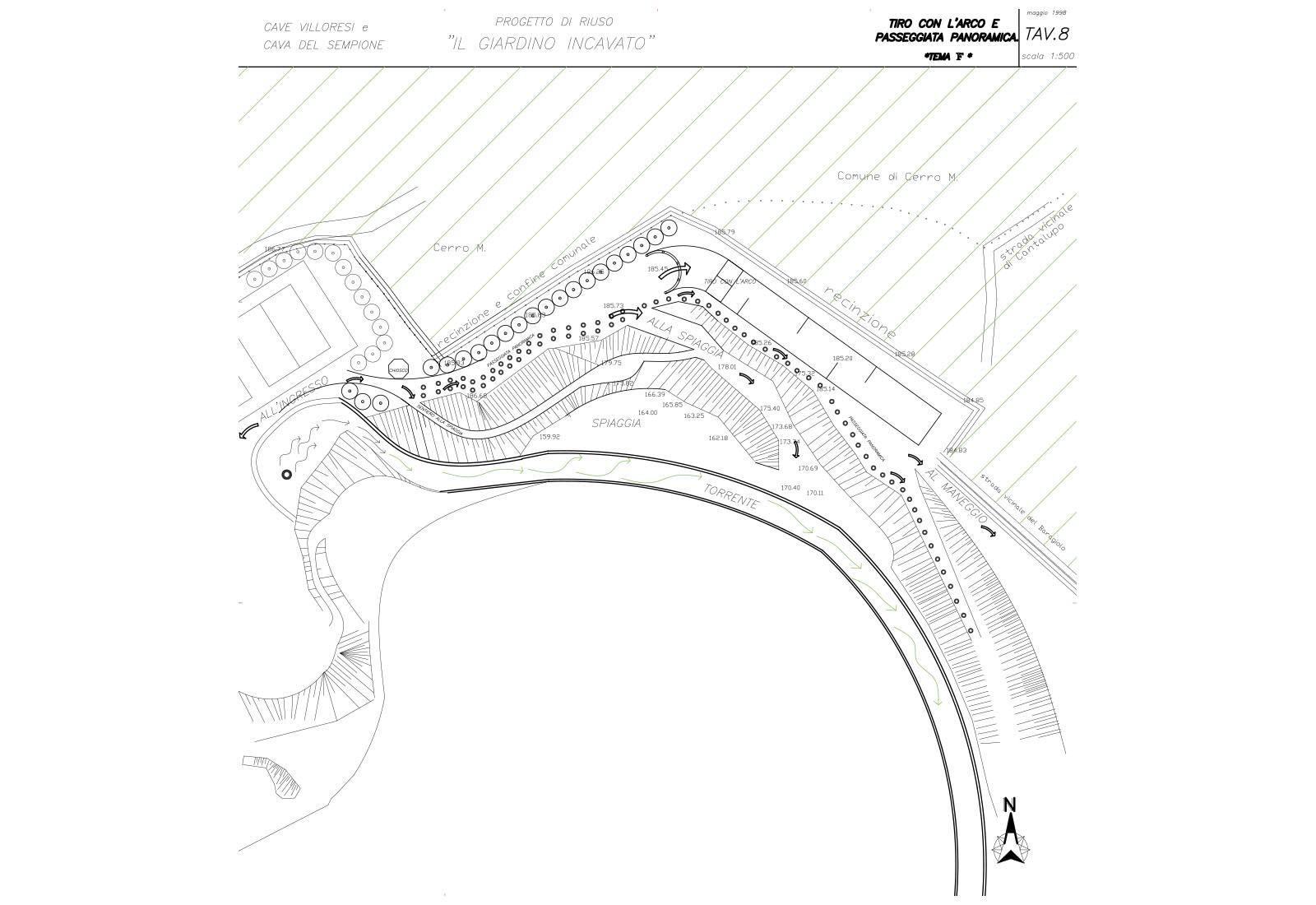 Riuso cave Villoresi e Sempione - Progetto di riuso: Tav.8 Tiro con l'arco e passeggiata