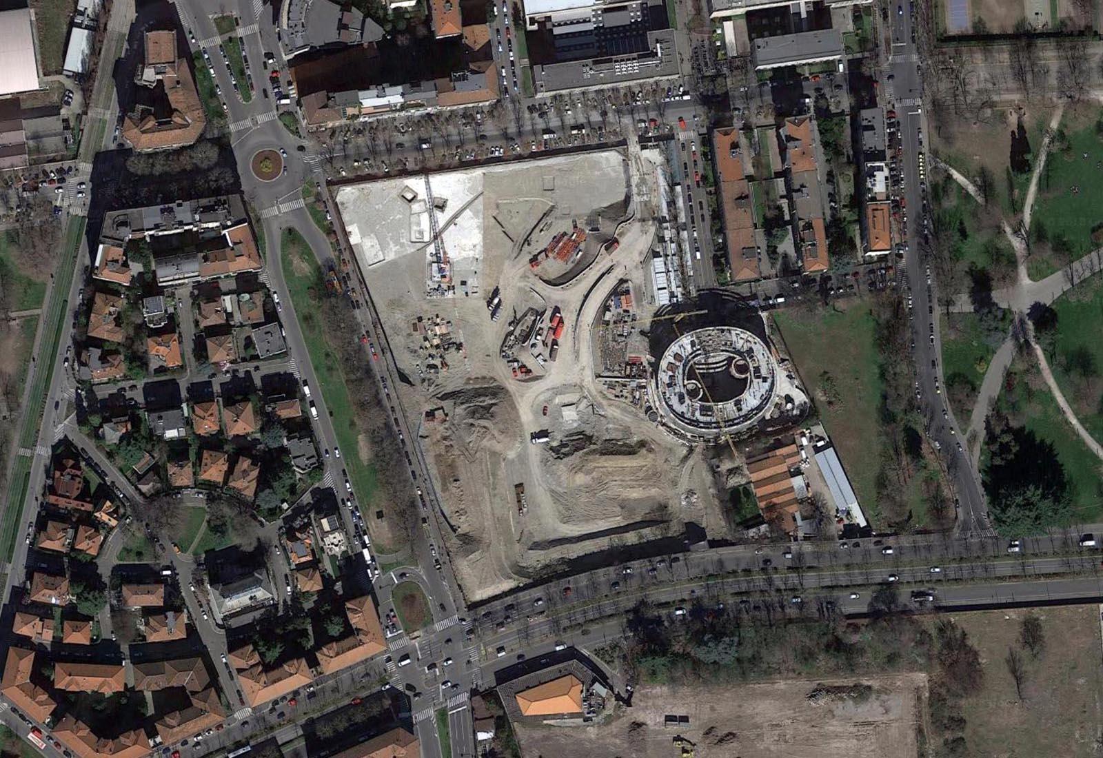 Residenze universitarie Bocconi in via Castiglioni a Milano - Vista aerea zenitale