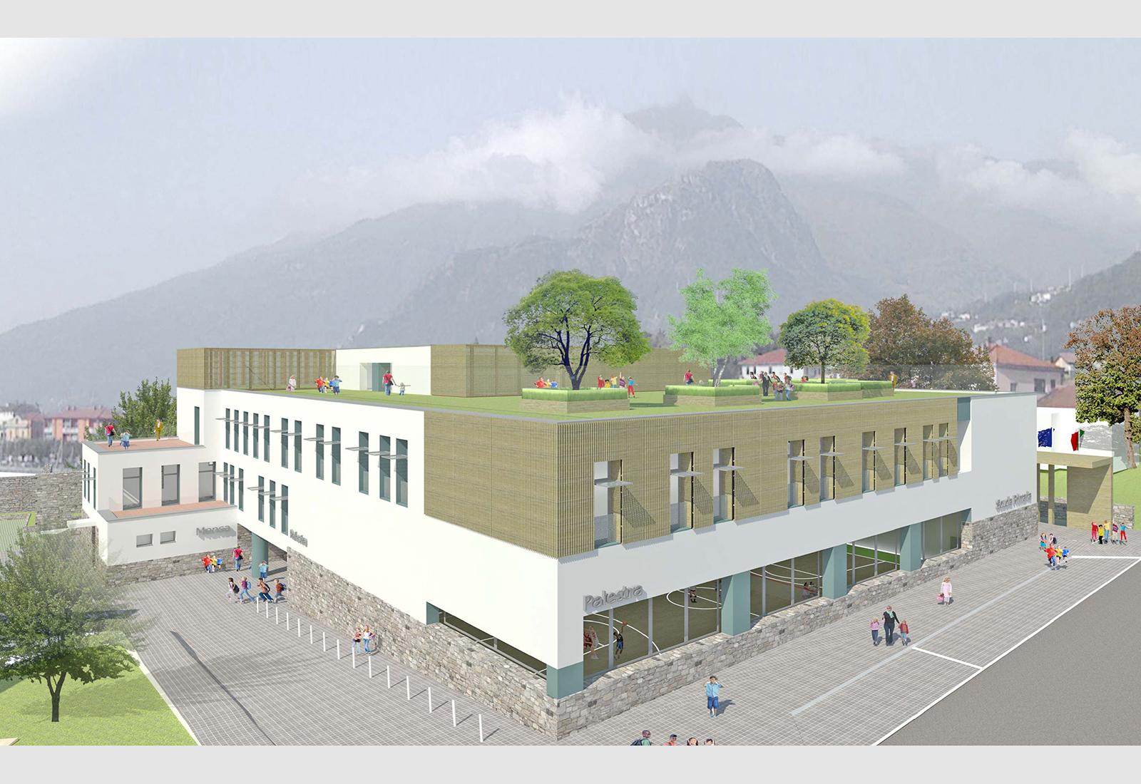 Scuola elementare a Gravedona - Vista aerea da Sud-Est