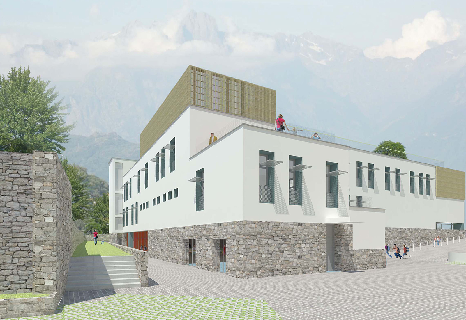 Scuola elementare a Gravedona - Vista da Sud-Ovest