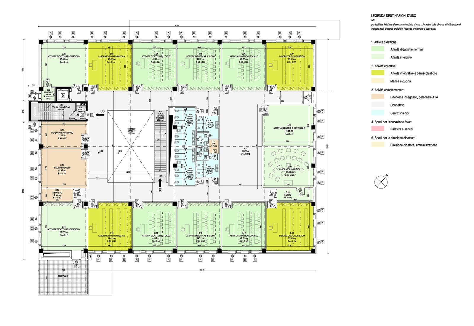 Scuola elementare a Gravedona - Pianta 3° livello