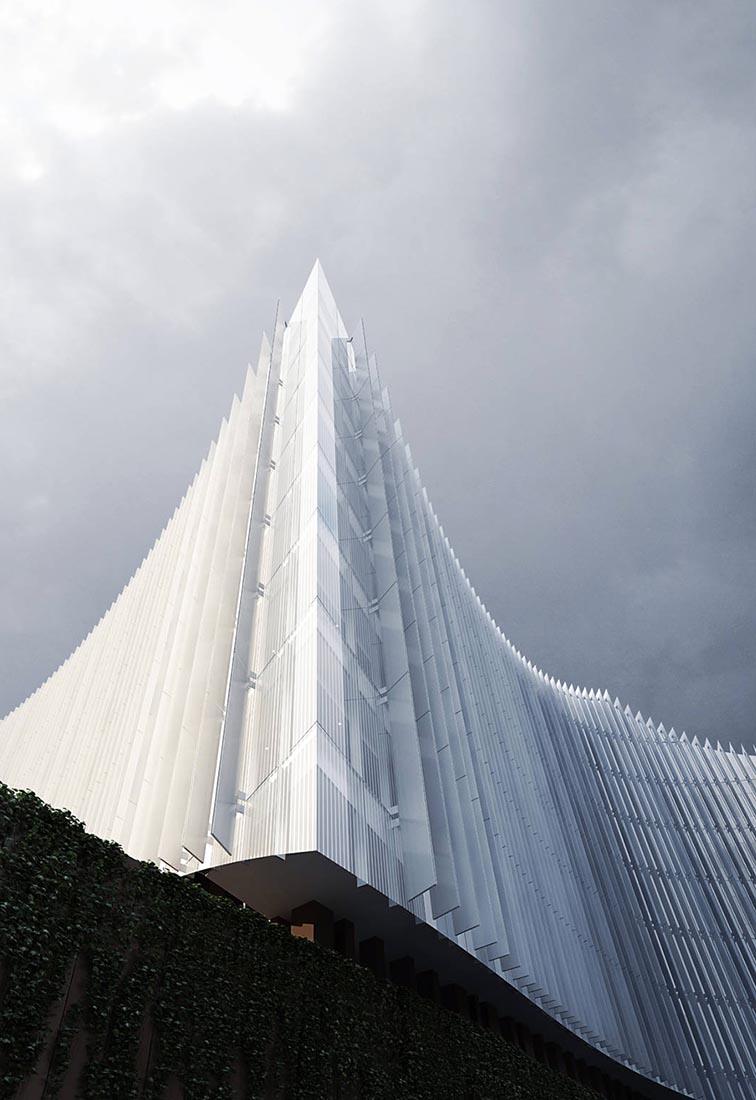 Ampliamento Ospedale San Raffaele a Milano - Dettaglio della facciata