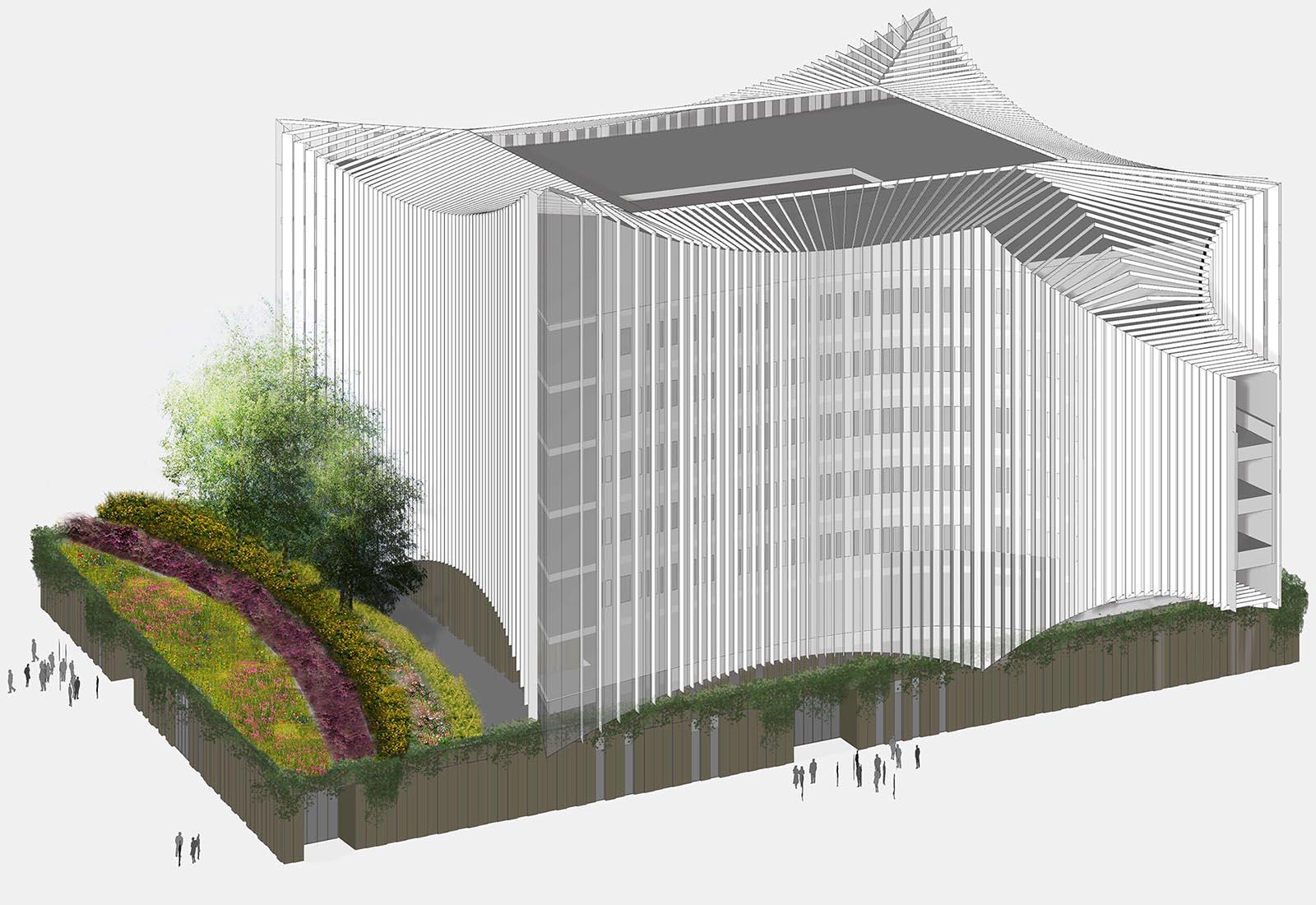 Ampliamento Ospedale San Raffaele a Milano - Vista assonometrica
