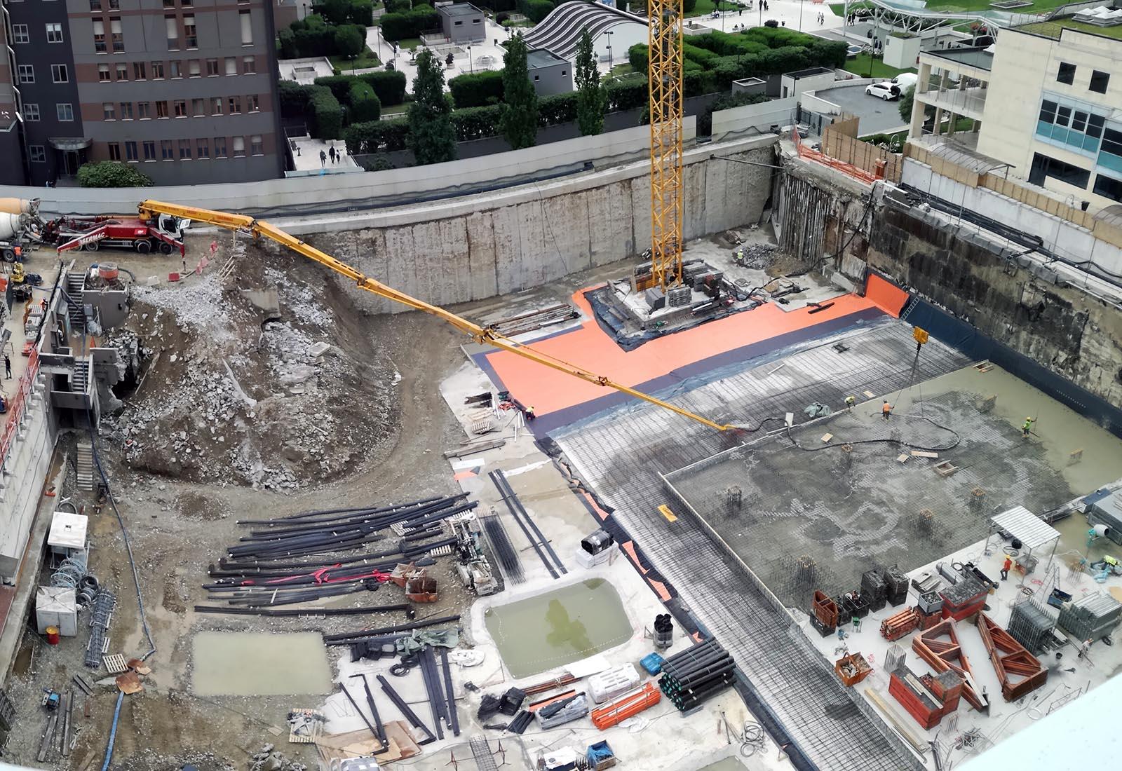 Ampliamento Ospedale San Raffaele a Milano - Getto delle fondazioni