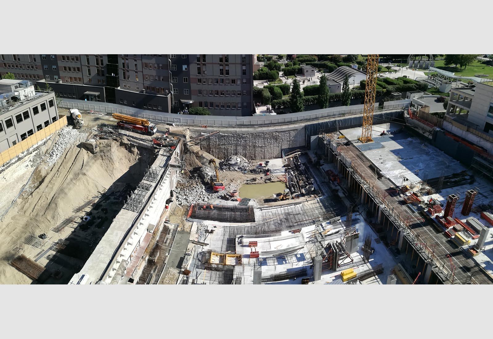 Ampliamento Ospedale San Raffaele a Milano - Panoramica del cantiere