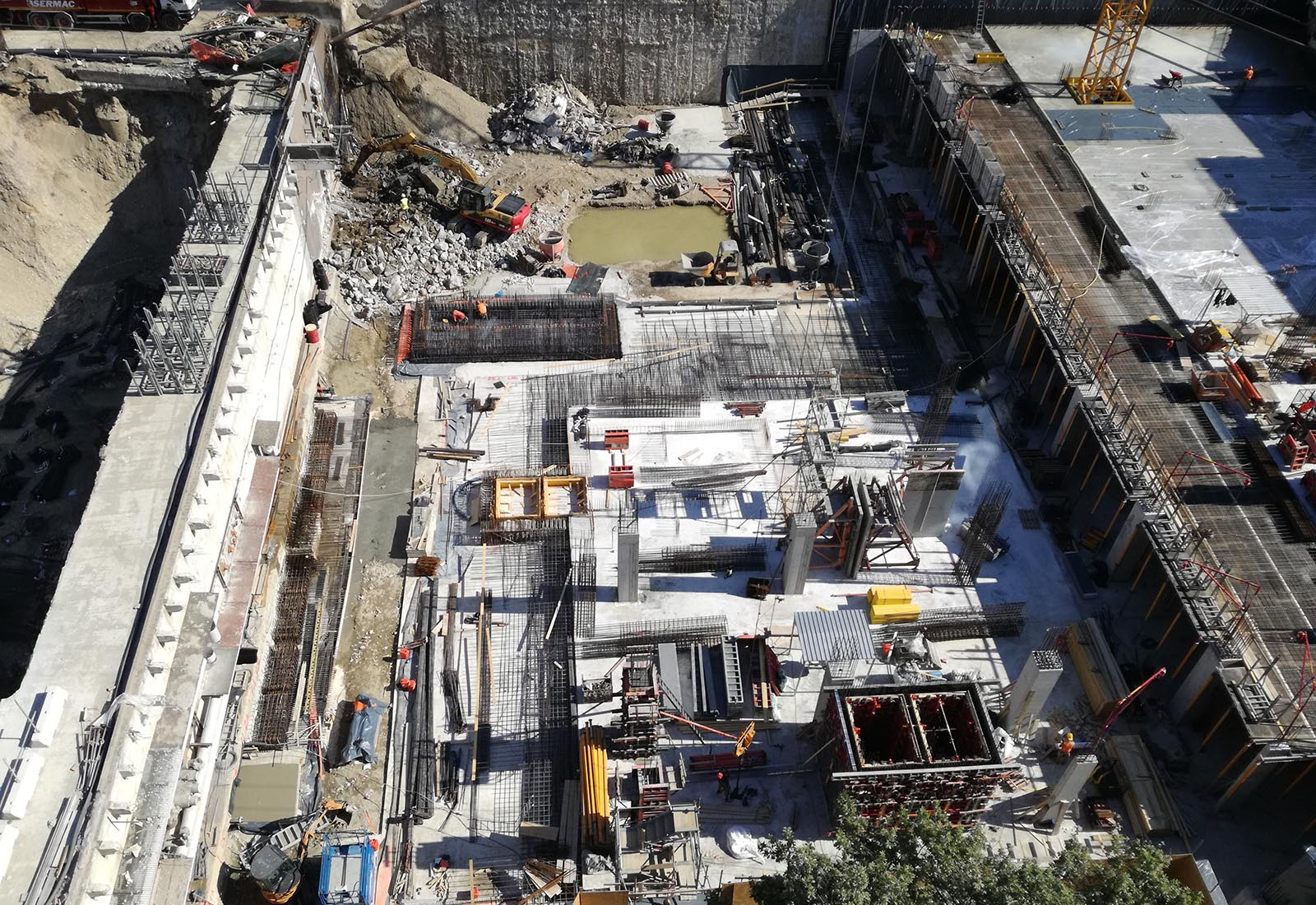Ampliamento Ospedale San Raffaele a Milano - Il settore centrale del cantiere