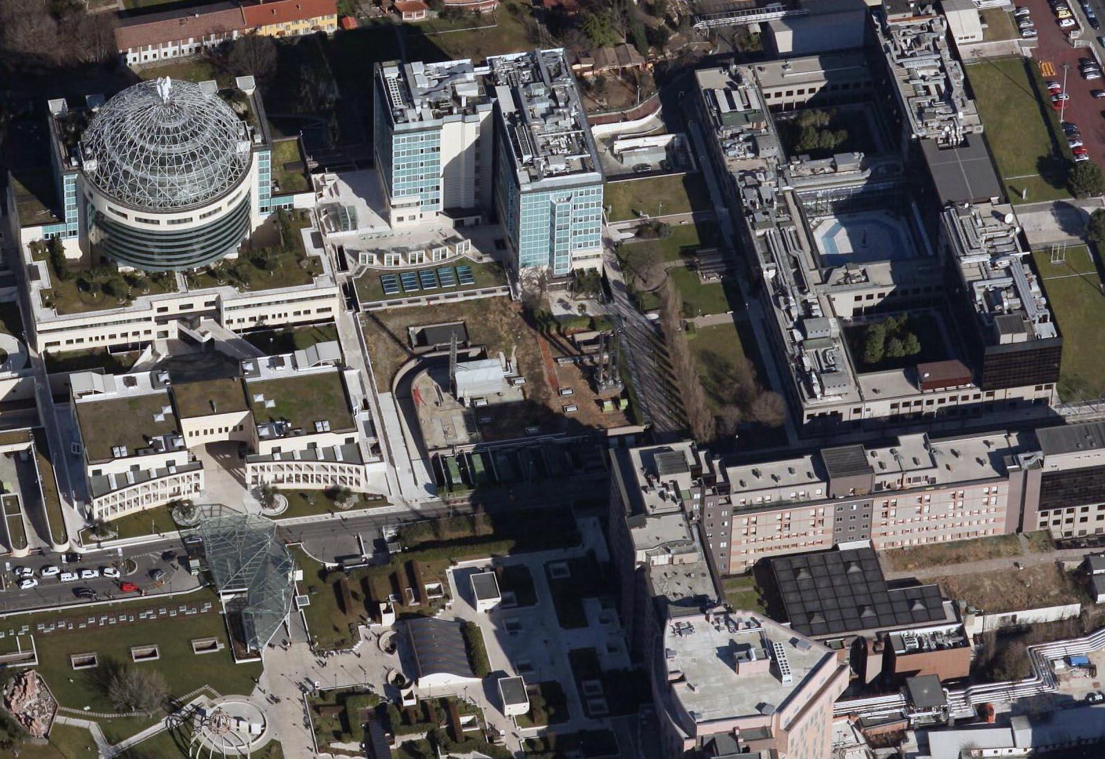Ampliamento Ospedale San Raffaele a Milano - Vista aerea dell'area del cantiere
