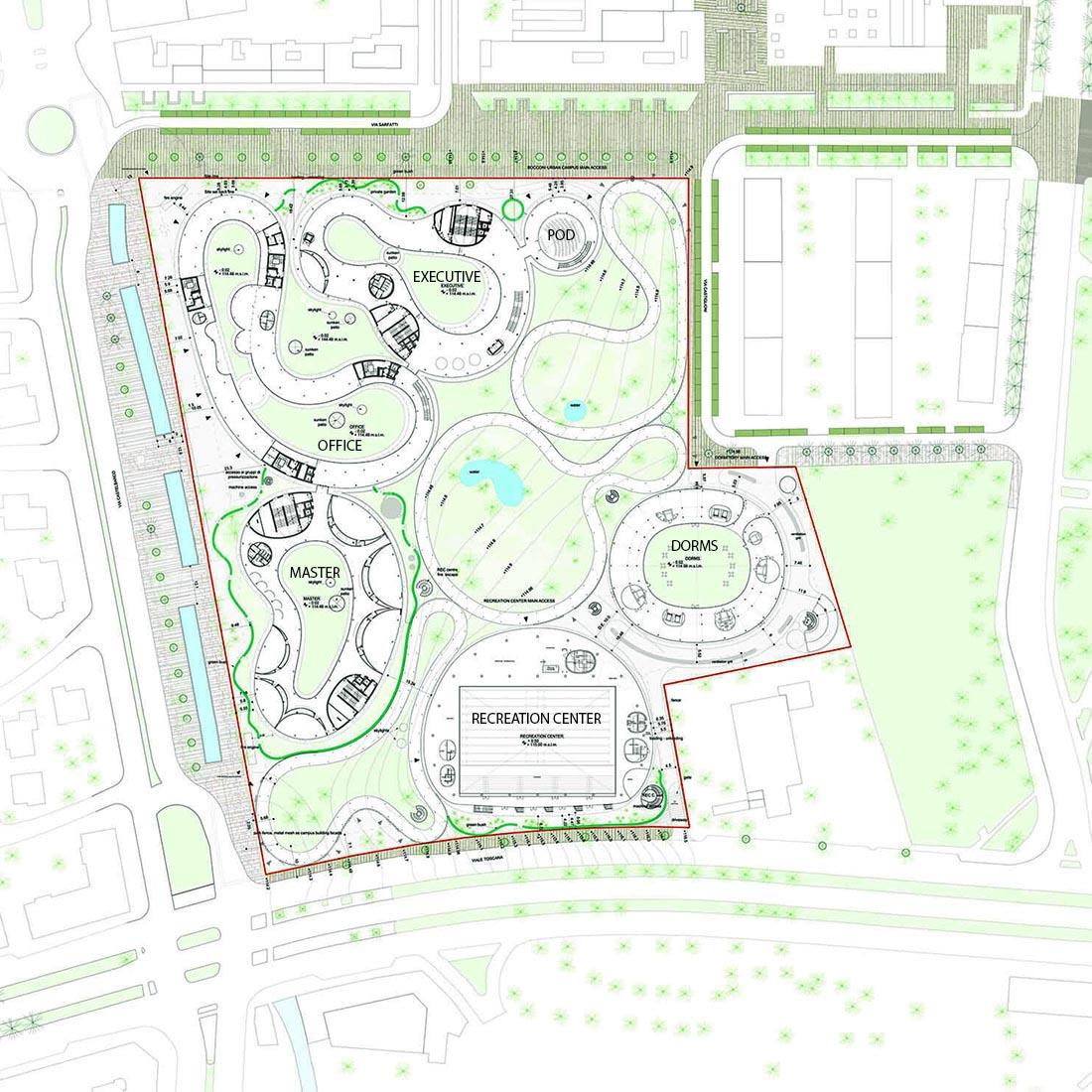 Recreation Center del campus Bocconi in via Castiglioni a Milano - Masterplan del campus Bocconi