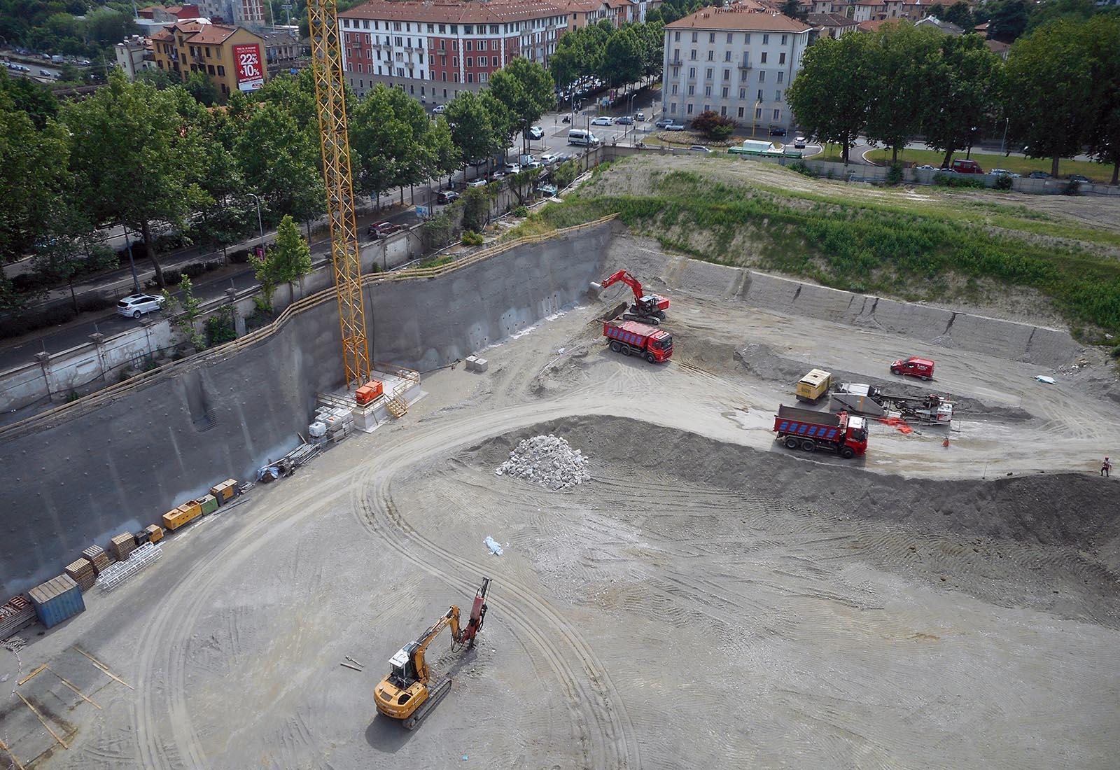 Recreation Center del campus Bocconi in via Castiglioni a Milano - L'area di scavo