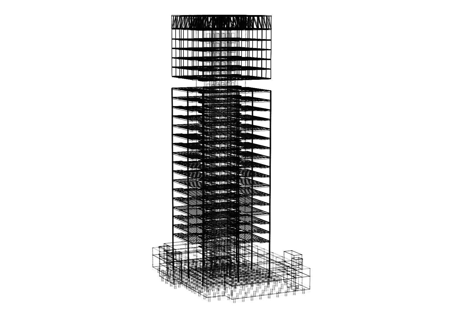 Edificio a torre dell'Università Bocconi a Milano - Modello 3D delle strutture