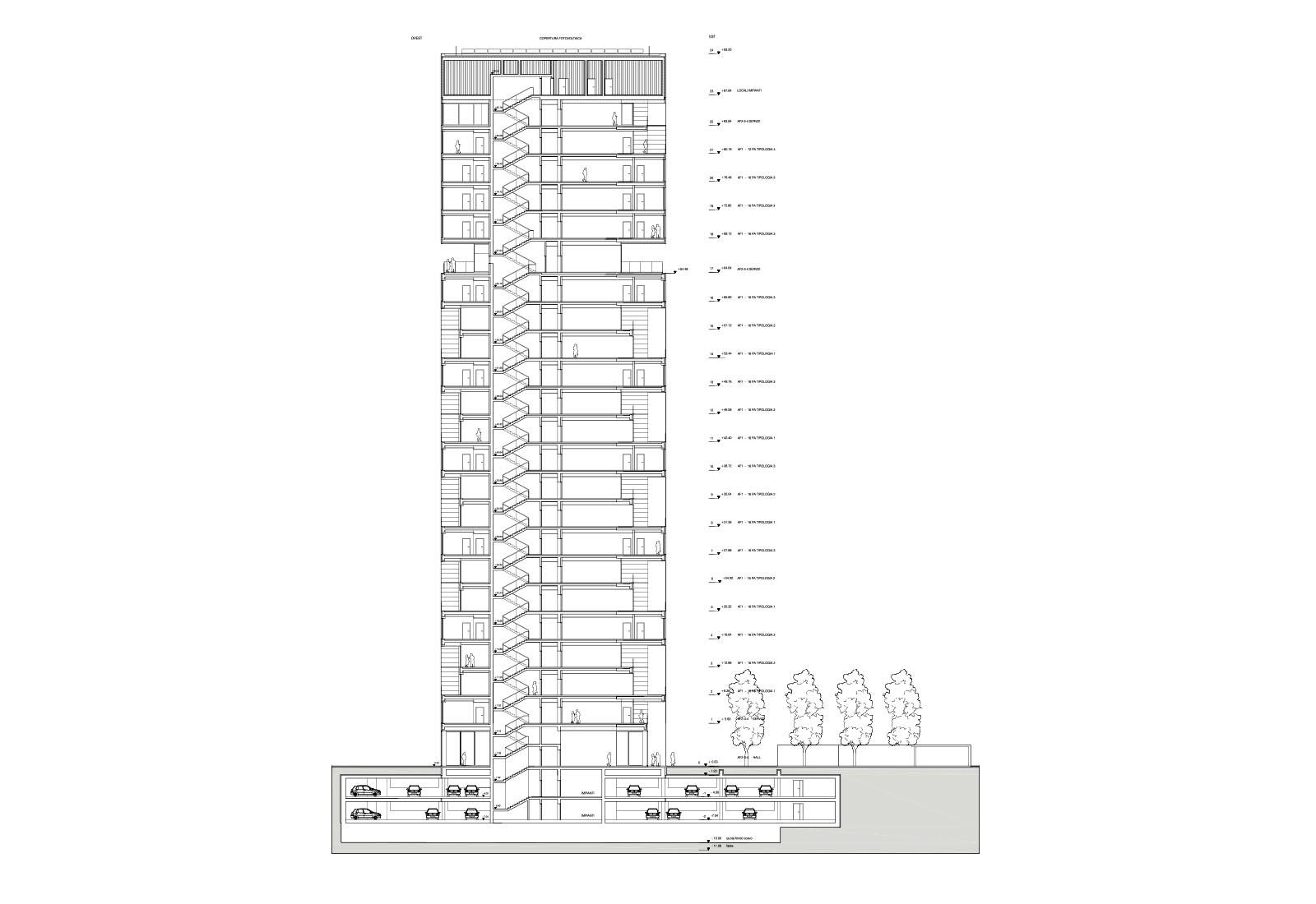 Edificio a torre dell'Università Bocconi a Milano - Sezione B-B'