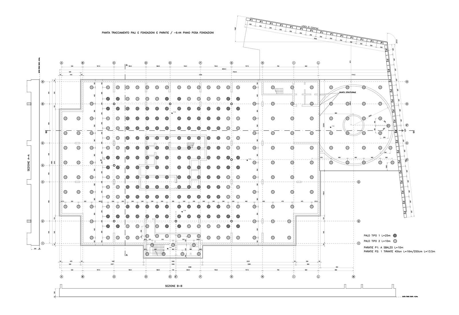 Edificio a torre dell'Università Bocconi a Milano - Planimetria fondazioni