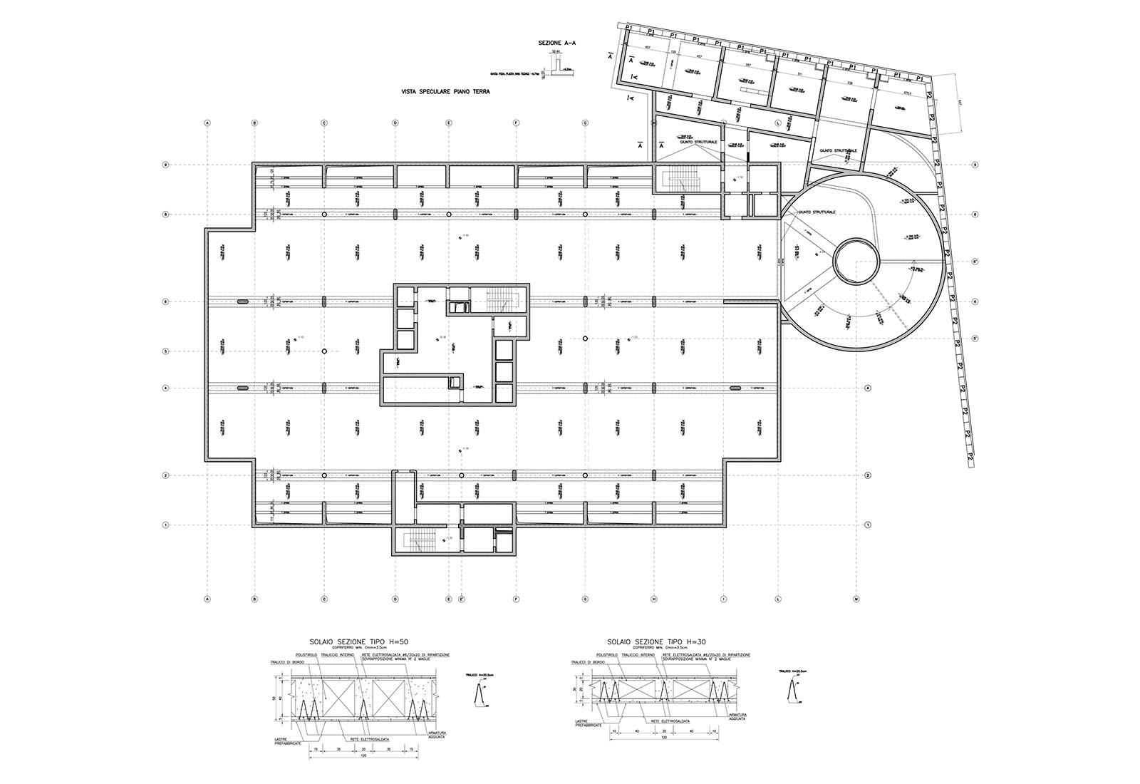 Edificio a torre dell'Università Bocconi a Milano - Vista speculare piano terra