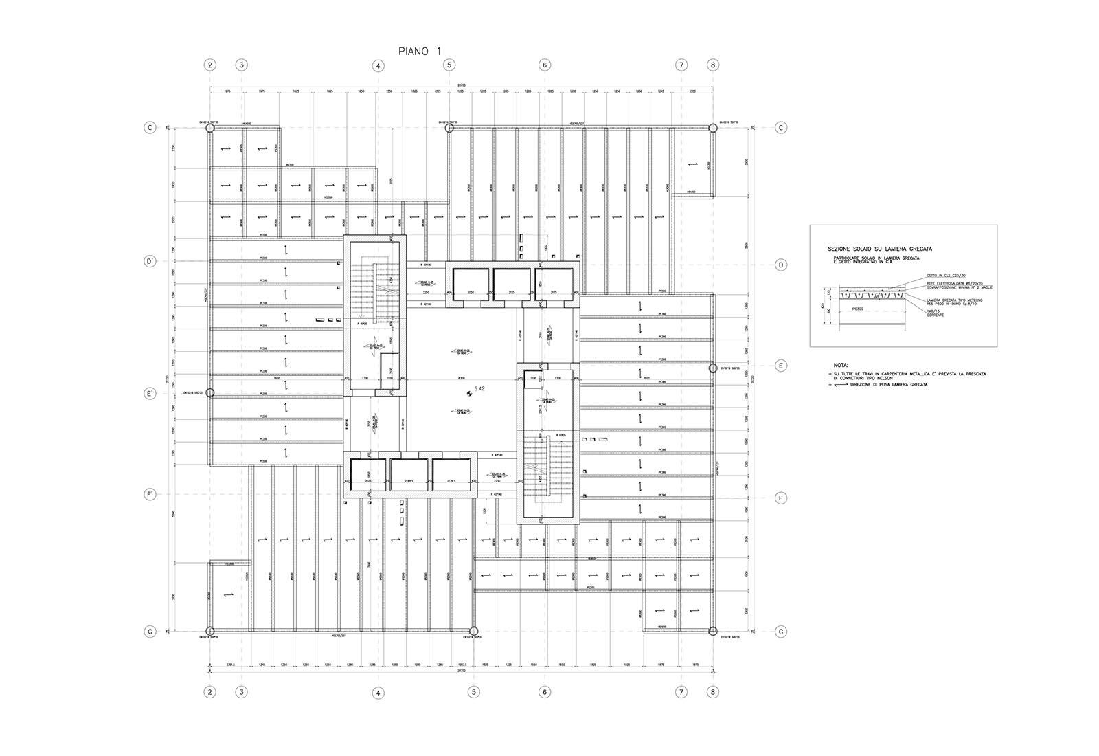Edificio a torre dell'Università Bocconi a Milano - Strutture piano primo