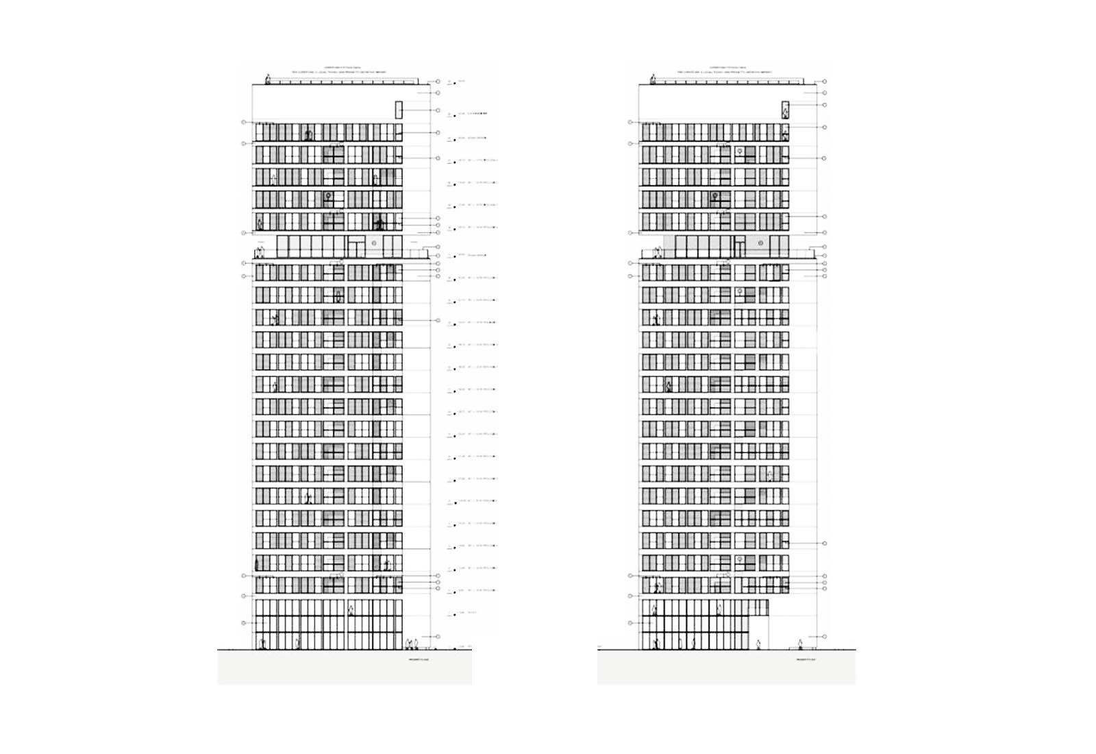Edificio a torre dell'Università Bocconi a Milano - Prospetti