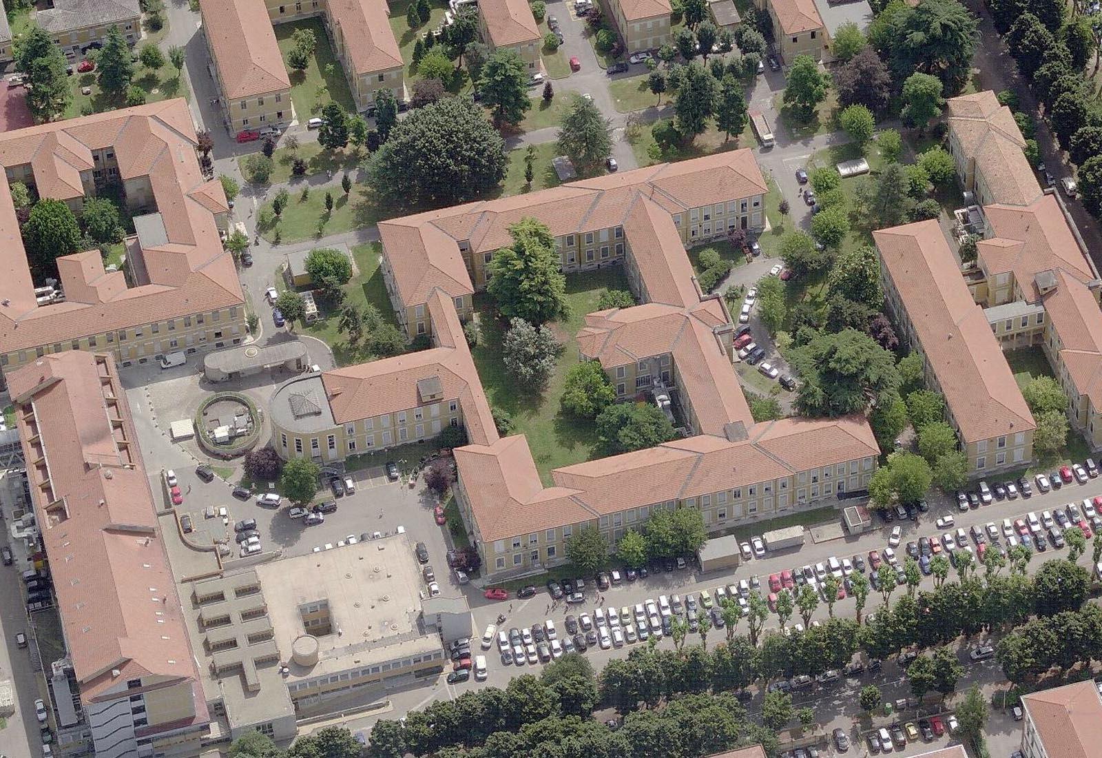 Adeguamenti Policlinico San Matteo a Pavia - Padiglione 7 - Vista aerea
