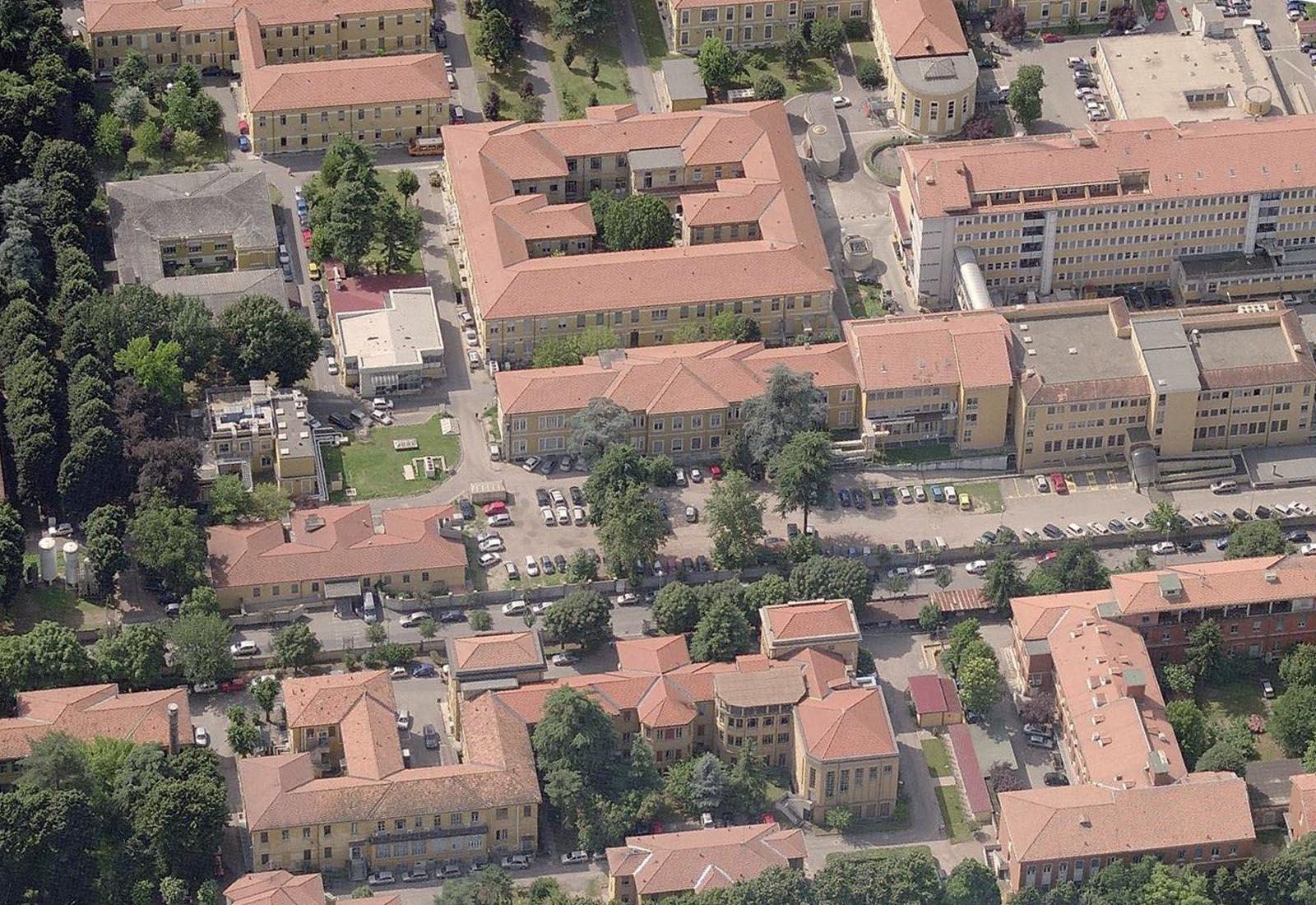 Adeguamenti Policlinico San Matteo a Pavia - Padiglione 10 - Vista aerea